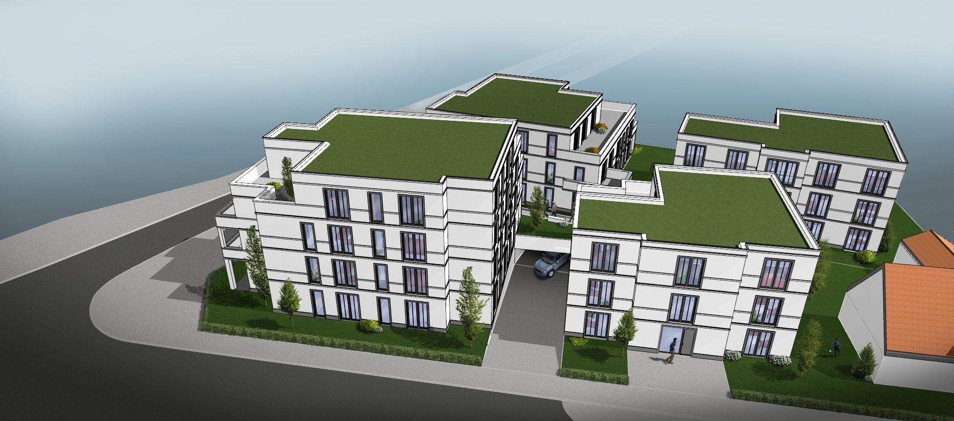 Umfangreiches Bauvorhaben in der Innenstadt: Der erste Entwurf für das Eckgrundstück Kuhmarkt/Kreuzweg sieht einen Gebäudekomplex mit 26 Wohnungen vor. Nach den neuen Vorgaben sind immerhin 23 statt 19 Wohnungen erlaubt. Zeichnung: PWP