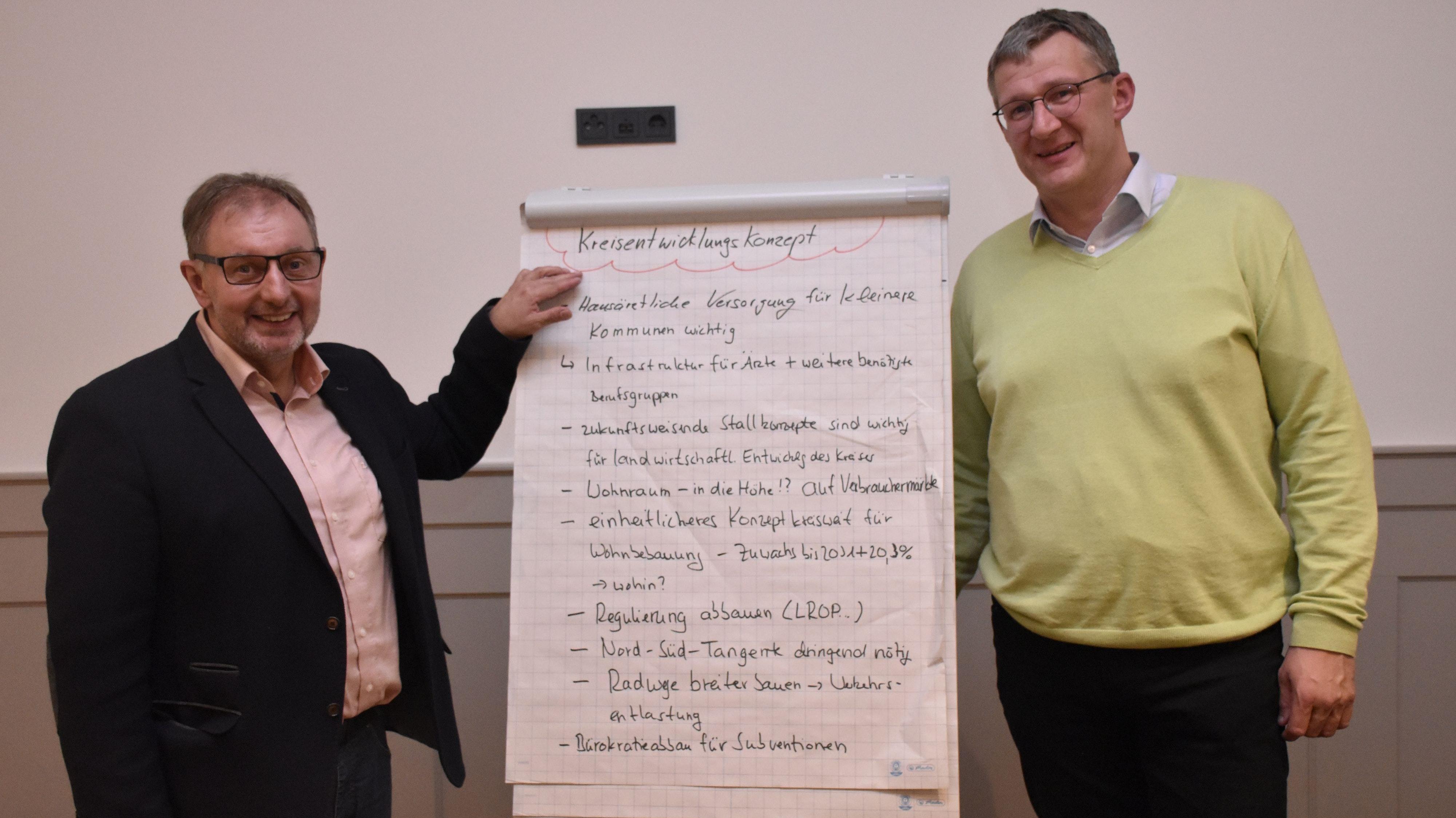 Gemeinsam hat die CDU in Steinfeld Ideen für das Kreisentwicklungskonzept erarbeitet: Kreistagsabgeordneter Mathias Warnking (links) und CDU-Ortsverbandschef Peter Harpenau freuen sich darüber. Foto: Scholz