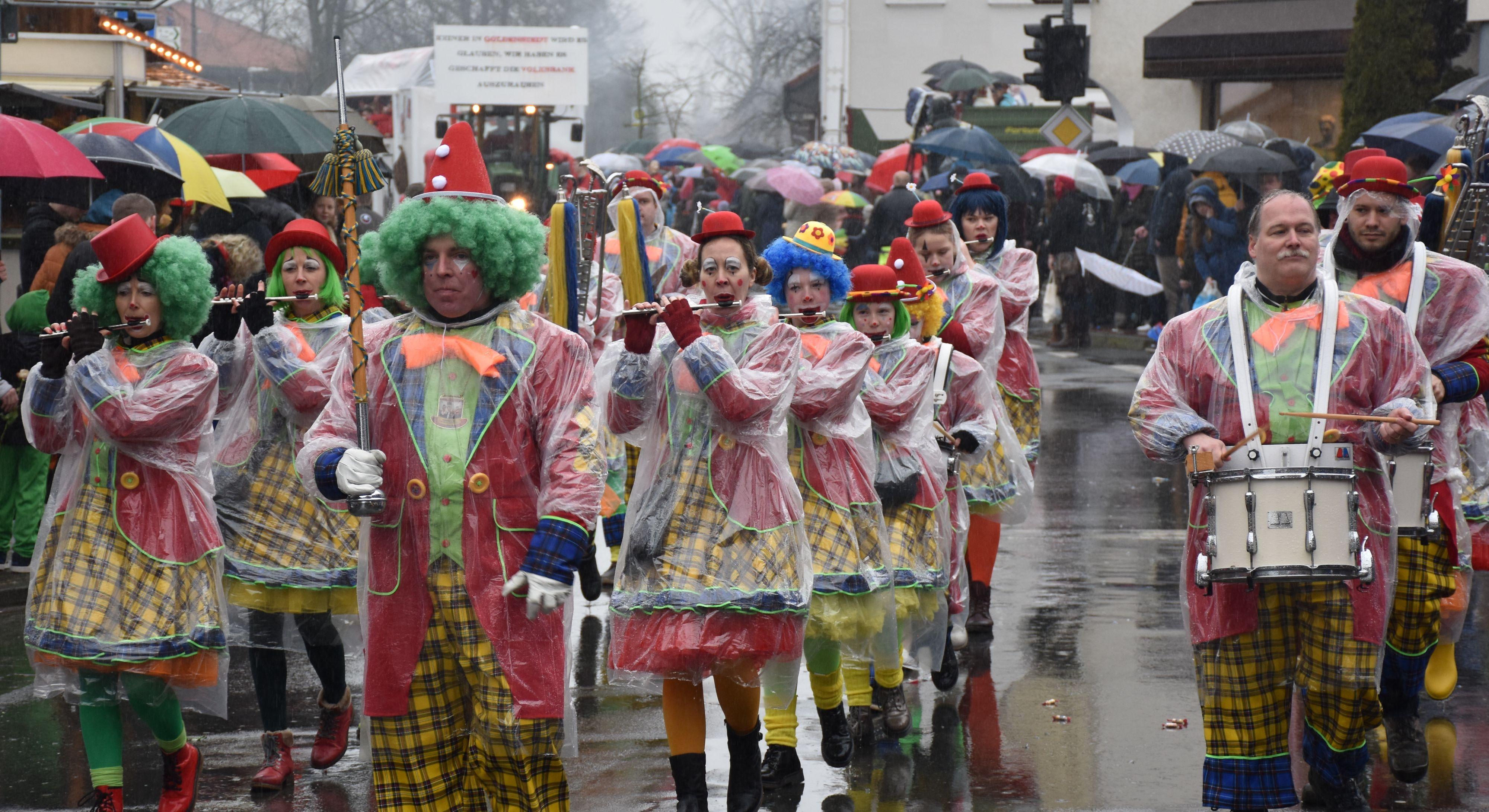 Tapfere Musikanten: Beim Goldenstedter Umzug im vergangenen Februar war neben guter Laune vor allem regenfeste Schminke wichtig. Foto: Archiv/Ferber