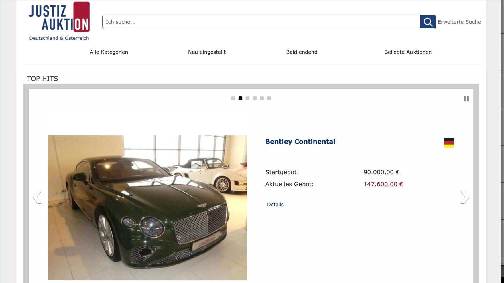 Mindestwert schnell überstiegen: Der grüne Bentley Continental kletterte schnell von 90.000 auf 147.600 Euro am Freitagvormittag. Foto: M. Niehues