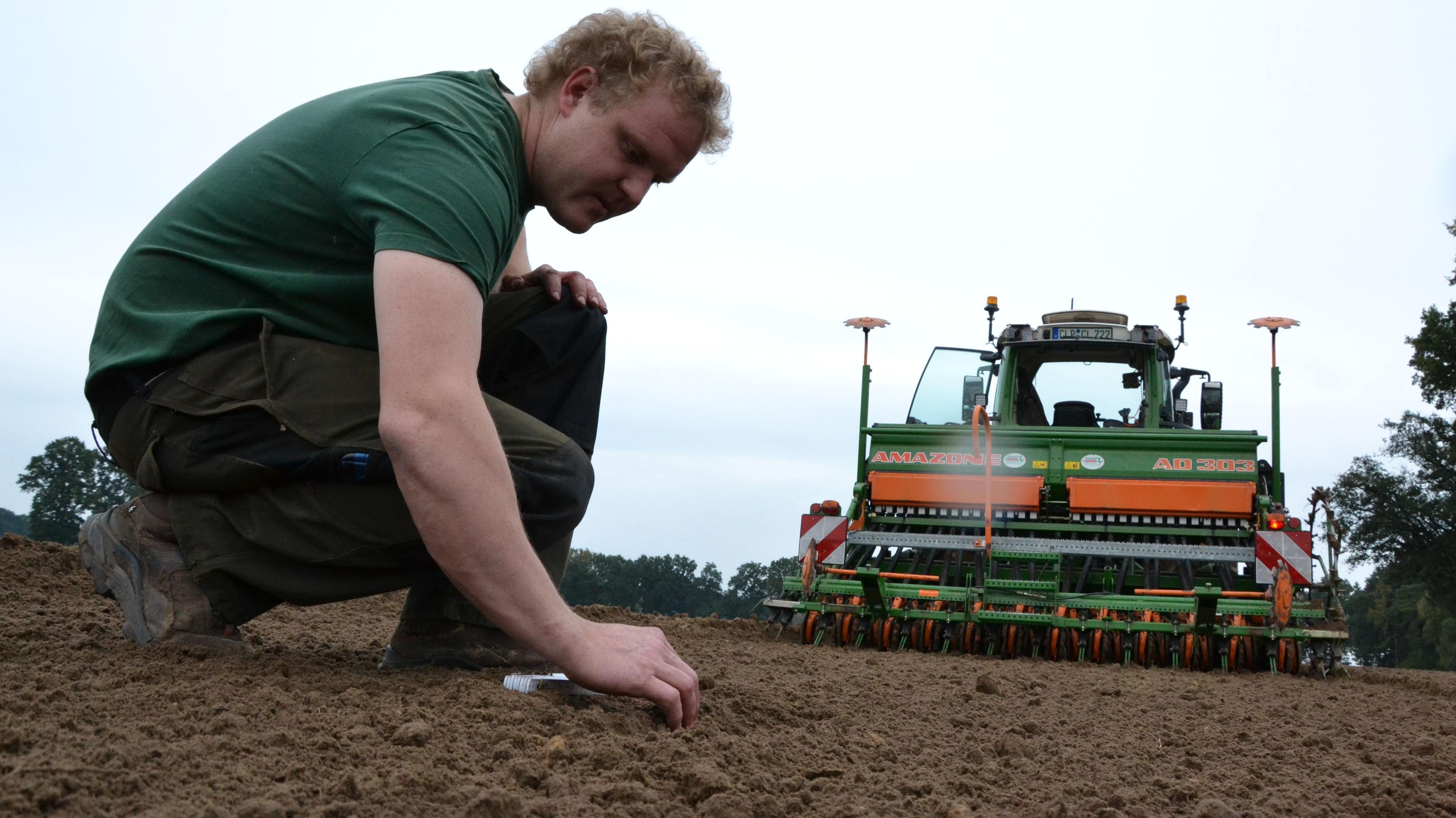 In Reih und Glied: Christian Lübbe misst nach, ob der Abstand zwischen den Weizenkörnern stimmt. Pro Tag kann der Landwirt mit seinen Maschinen bis zu 20 Hektar säen. Foto: Meyer