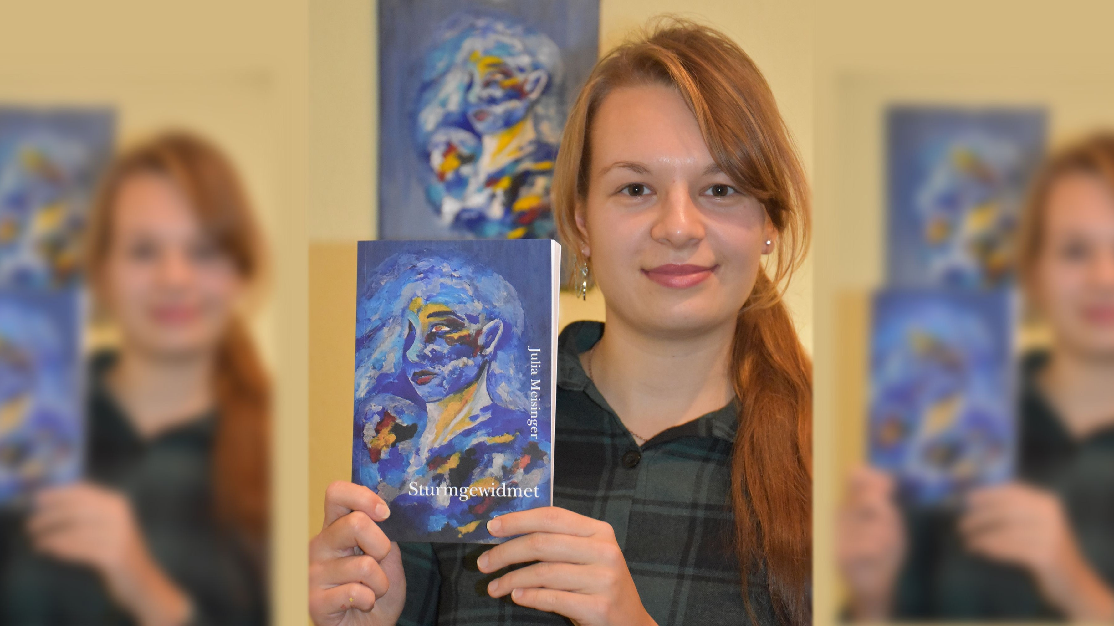 """Buchpremiere: Die 19-jährige Schülerin Julia Meisinger aus Hausstette hat vor 2 Wochen ihren ersten Kurzprosa-Band """"Sturmgewidmet"""" veröffentlicht. Fotomontage: M. Meyer/von Hammerstein"""