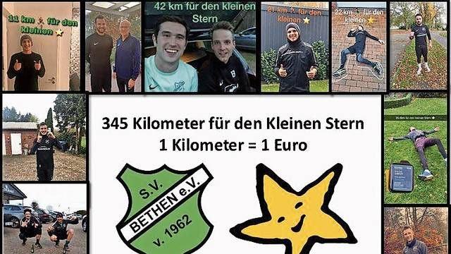 Individuelles Training: Bethens Fußballer liefen 345 Kilometer und spendeten 345 Euro aus der Mannschaftskasse für den Kleinen Stern. Collage: Philipp Naber