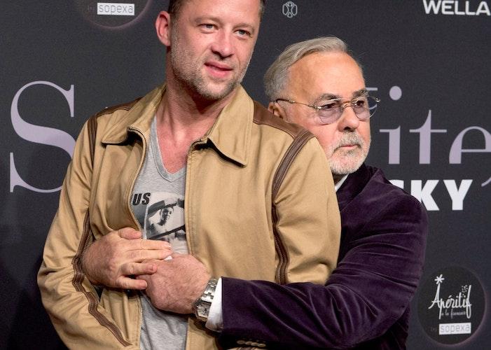 Udo Walz und sein Ehemann Carsten Thamm. Foto: dpaStache