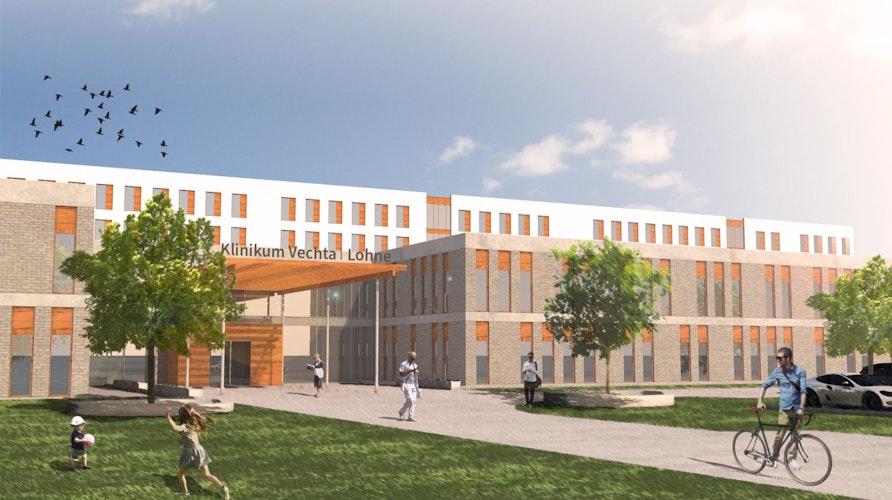So könnte das geplante Zentralklinikum Vechta-Lohne aussehen, wenn es fertig ist. Skizze: Architekten t+p