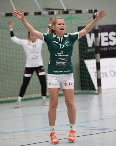 """Elle"""", wie alle sie kennen: Ihren Heimatverein SFN führte die Vechtaerin im Handball bis in die 3. Liga. Foto: Schikora"""