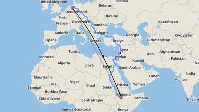 Von Damme nach Ijaji: Dieselbe Entfernung wollen die Rot-Weißen bei ihrer SgH-Aktion laufen. Screenshot: luftlinie.org