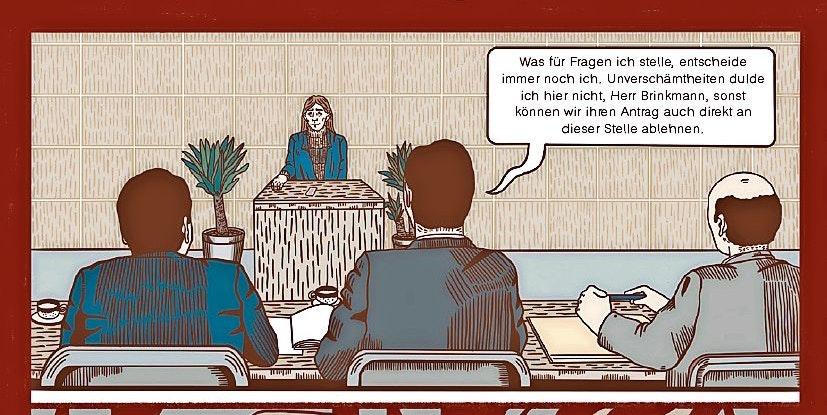 Unter Druck: Hermann Brinkmann vor der Prüfungskammer. Gezeichnet hat die Szene seine Nichte Hannah. Copyright: Avant-Verlag.