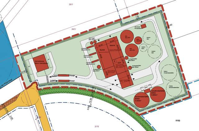 Geschlossenes System: Die Anlage sieht Industriehallen und geschlossene Außenbehälter vor.Grafik: Kaskum