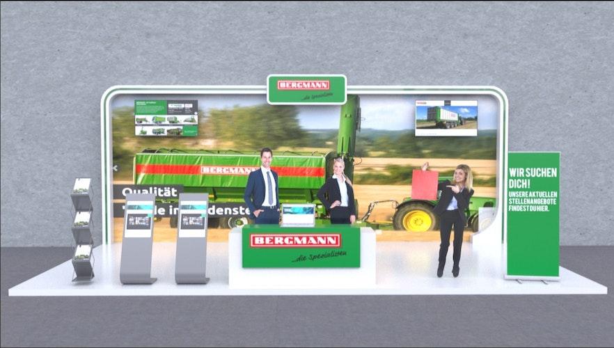 Die virtuellen Ausstellungsstände können für die teilnehmenden Firmen sehr unterschiedlich gestaltet werden. Grafik: Newroom Media