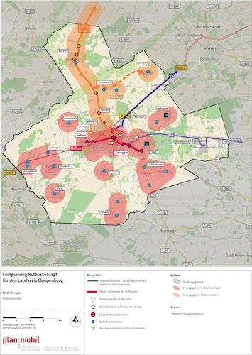 Personennahverkehr für Löningen: Für die neuen Rufbuslinien sind sechs feste und 19 Bedarfshaltestellen eingeplant. C: Kreisverwaltung