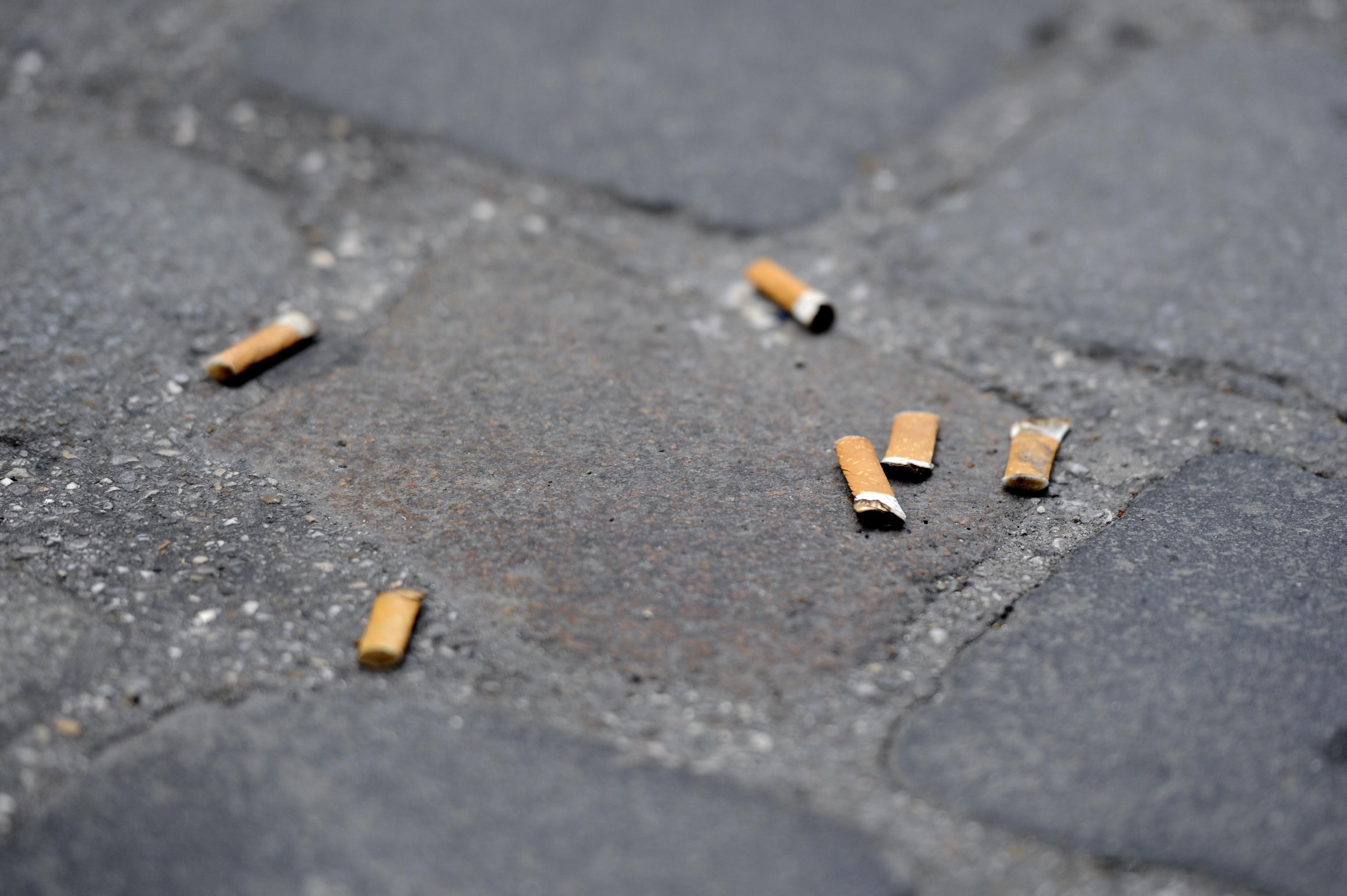 So klein, aber doch so umweltschädlich: Auch wer Zigarettenkippen auf die Straße wirft, soll nach Vorstellung der SPD notfalls mit Bußgeldern bestraft werden. Symbolfoto: Tobias Hase/dpa