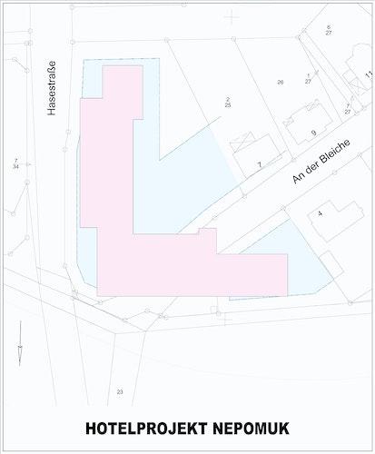 Thema der Bürgerfragestunde: Die Maße des geplanten Hotels an der Hasestraße und das bei einer Verwirklichung notwendige Überbauen  kommunaler Flächen im Bereich des Wendehammers. Grafik: db-bau