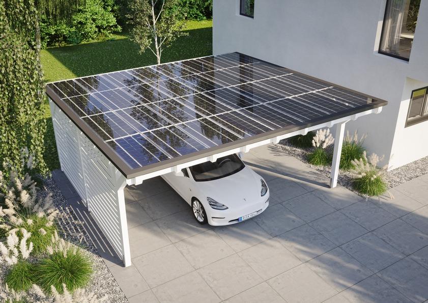 Wer auch seinem Auto den bestmöglichen Schutz bieten will, setzt auf ein Solarcarport, das schon bei einer Größe von 6 x 6 m genug Strom für die Versorgung eines durchschnittlichen 4-Personen-Haushaltes erzeugen kann. (Foto: epr/Solarterrassen & Carportwerk GmbH)