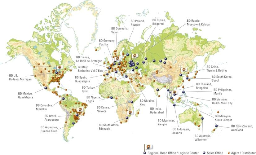 Die Standorte der Big Dutchman AG weltweit. Grafik: Big Dutchman