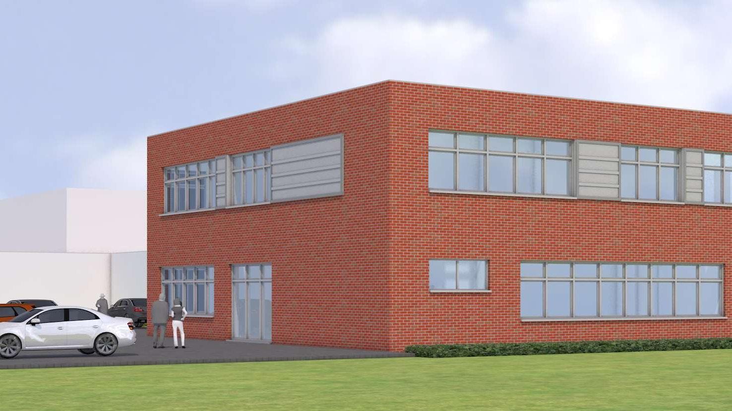 In die Höhe: Der 2006 errichtete Fachklassentrakt der Albert-Schweitzer-Realschule in Lohne soll um ein Geschoss aufgestockt werden, um dem gesteigerten Raumbedarf Rechnung zu tragen. Grafik: Pölking & Theilen