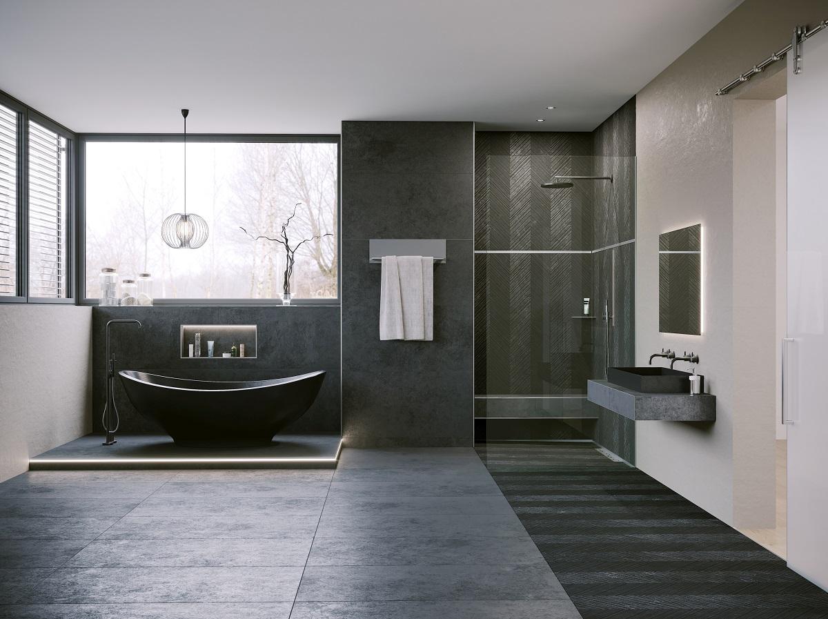 Eine entscheidende Rolle beim Bau eines modernen Bades spielt die bodengleiche Dusche. Foto: epr/Schlüter-Systems