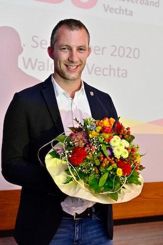 Zeigte sich sichtlich erfreut über sein neues Amt: Der 30-jährige Erlter André Hüttemeyer. Foto: M. Niehues