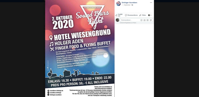 """Informationen zur Veranstaltung gibt es&nbsp;auch auf der <a target=""""_blank"""" href=""""https://www.facebook.com/dinklager.soundbars/"""">Facebookseite Dinklager Soundbars</a>. Foto: Screenshot"""
