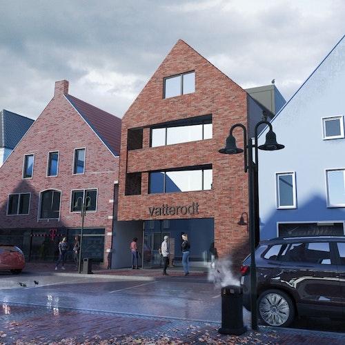 Bauvorhaben an der Großen Straße: So soll sich die Immobilie in die Häuserzeile einfügen. Grafik: Kathrin Vatterodt