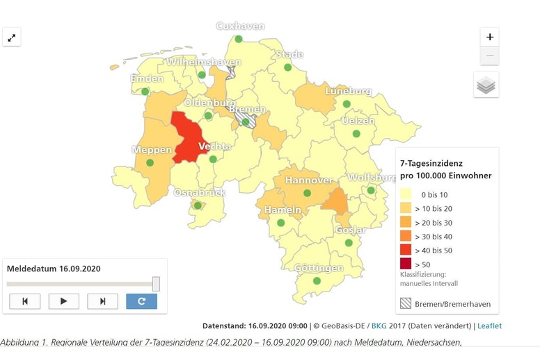 Sticht deutlich auf der Karte hervor: Für den Landkreis Cloppenburg wird aus Hannover eine 7-Tagesinzidenz von 40,4 ausgegeben.