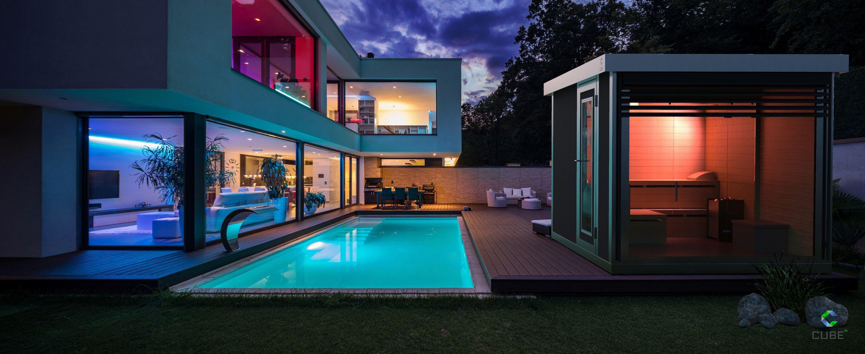 Die #Deluxe Gartensauna von Cube fx verwandelt den eigenen Garten nicht nur in eine Wohlfühloase, sondern setzt auch ein optisches Highlight im Außenbereich. Foto: epr/Cube fx)