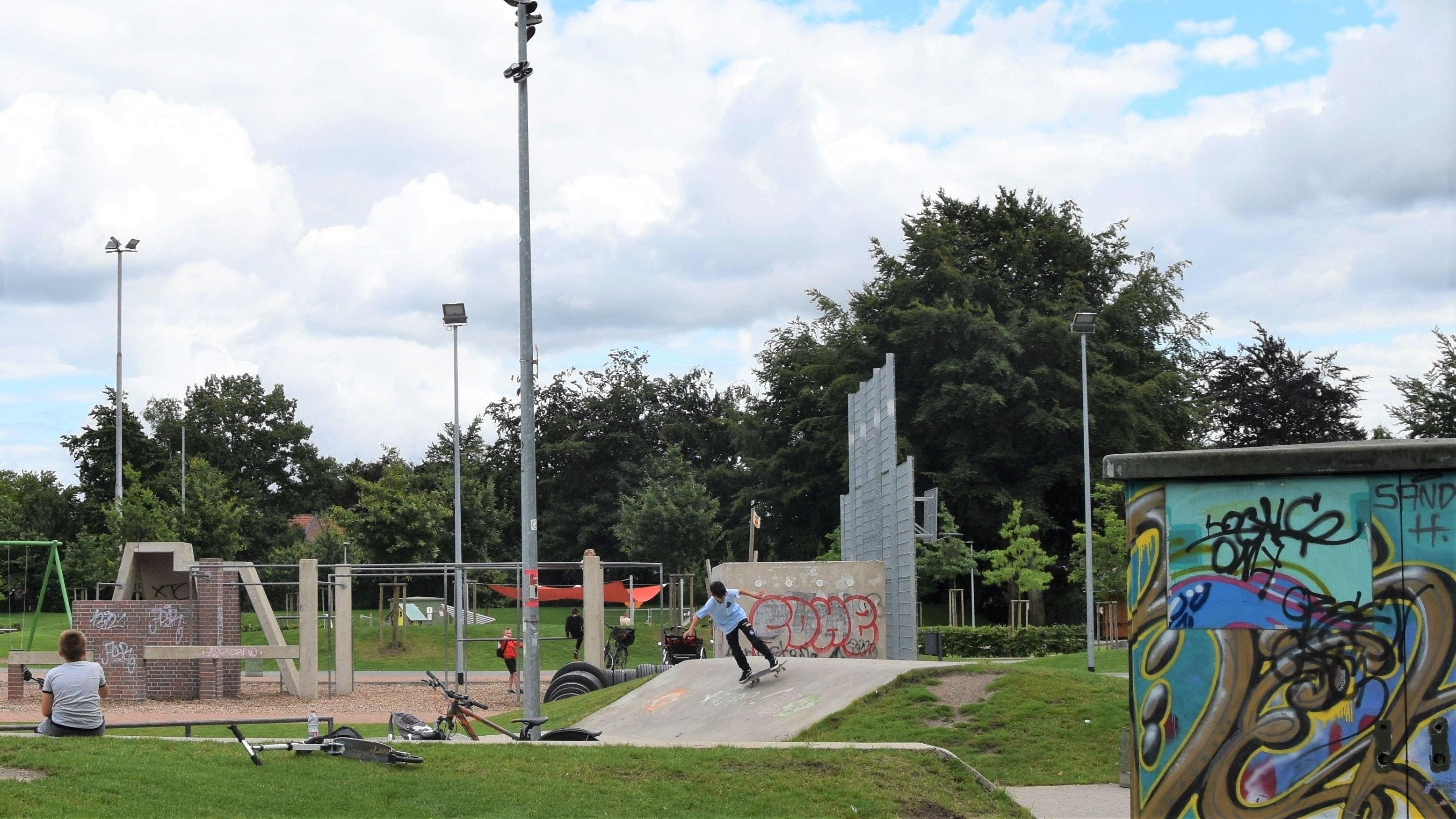 """Eine Laterne als """"Schuhbaum"""": Das Ritual der Skater soll Glück bringen, die Jugendlichen im Mehrgenerationenpark wünschen sich aber einen echten Baum. Foto: Hahn"""