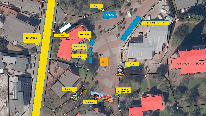 Familienfest: Etliche der Angebote am 2. Oktober werden auf dem Linderner Marktplatz aufgebaut. Grafik: Gemeindeverwaltung