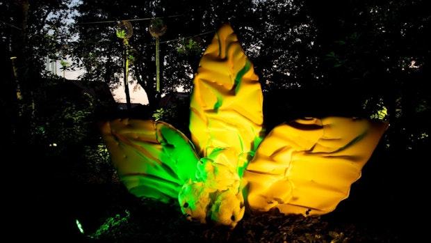 Lichtkunst beleuchtet Park der Gärten in Bad Zwischenahn