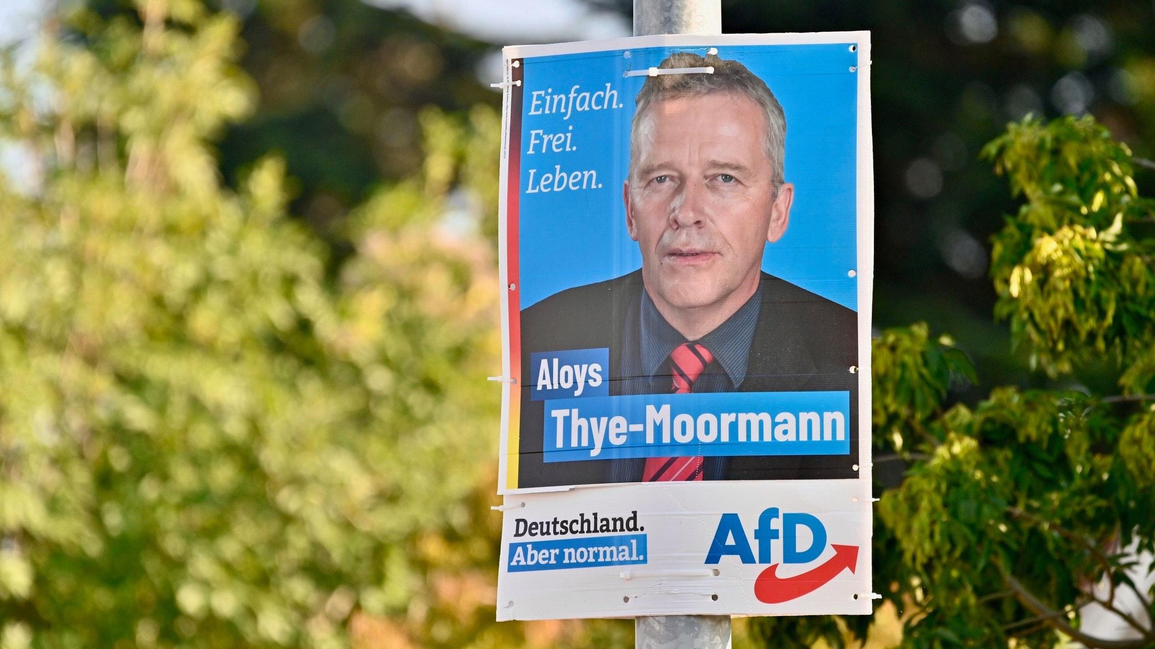 """AfD-Wahlplakat in Vechta: Aloys Thye-Moormann wünscht sich ein """"normales"""" Deutschland. Foto: M. Niehues"""