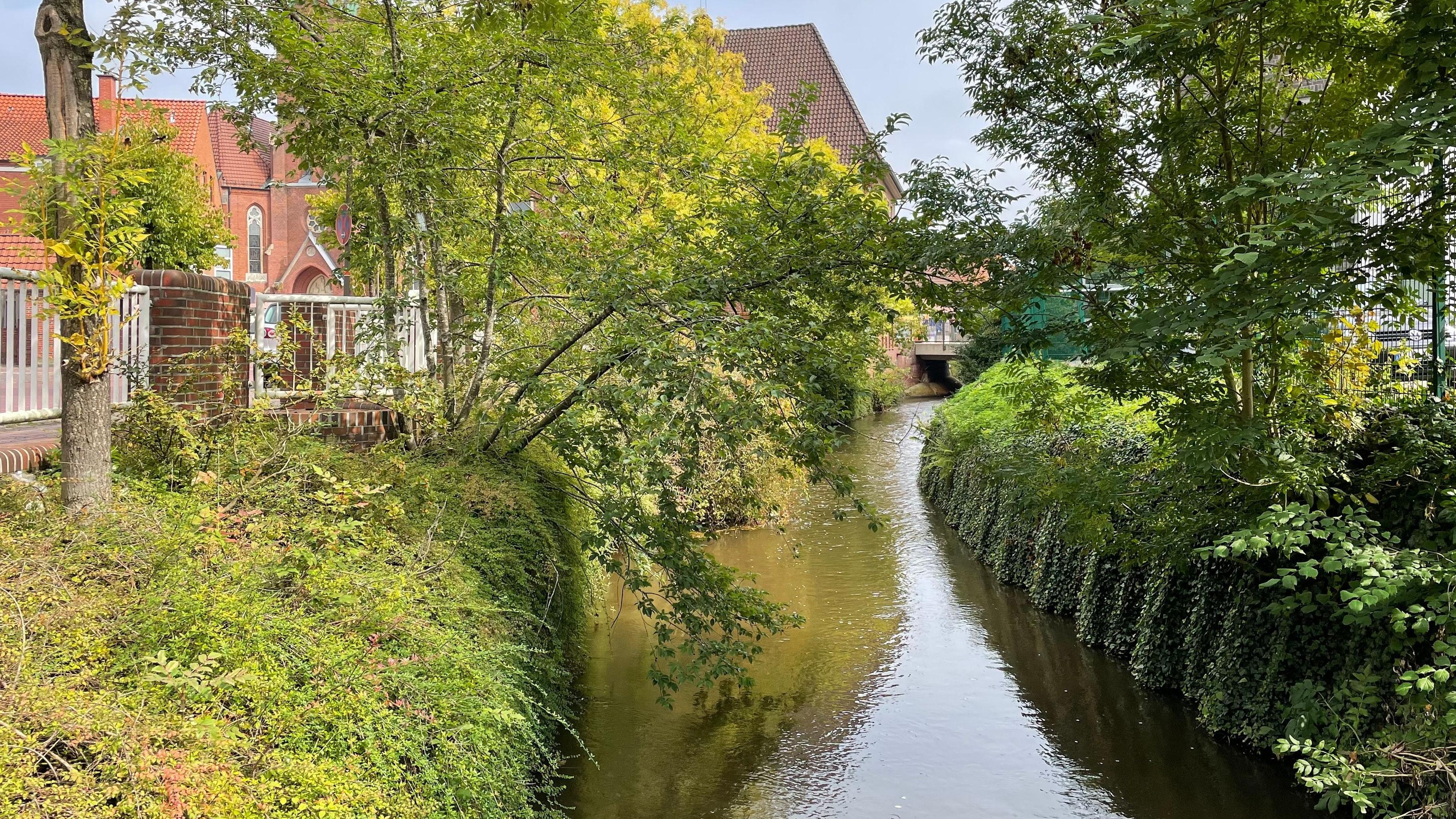 """Stadt am Fluss: Die Soeste versteckt sich in der Friesoyther Innenstadt tief in ihrem Bett. Mit den Fördermitteln aus dem Programm """"Perspektive Innenstadt"""" will die Verwaltung den Fluss erlebbarer machen. Foto: Stix"""