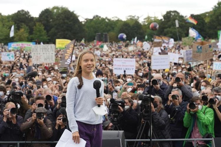 Steht in Berlin im Fokus: die schwedische Klimaaktivistin Greta Thunberg. Foto: Jörg Carstensen  dpa