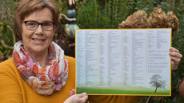 Gertrud Grotegers präsentiert das neue Platt-Tischset