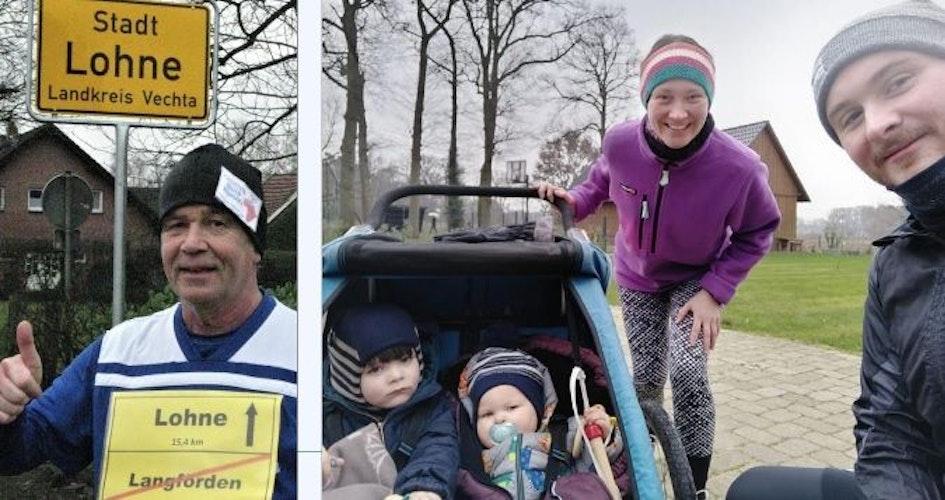 Gute Lauf-Stimmung:Reimund Bohmann (links) sowieMareike Weldemann mit Familie. Fotos: privat