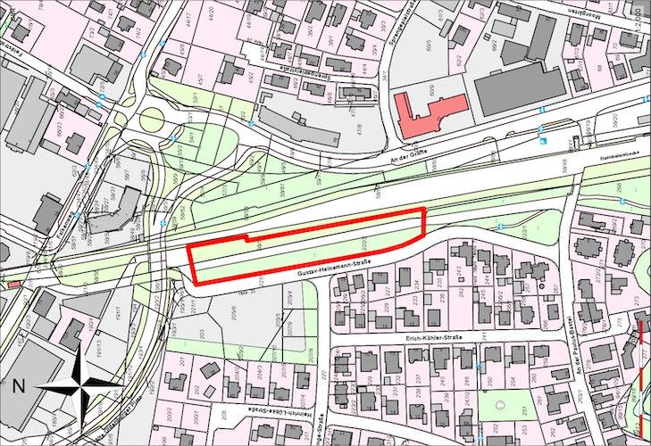 Das Grundstück befindet sich zwischen der Gustav-Heinemann-Straße und der Bahnstrecke. Skizze: Stadt Vechta