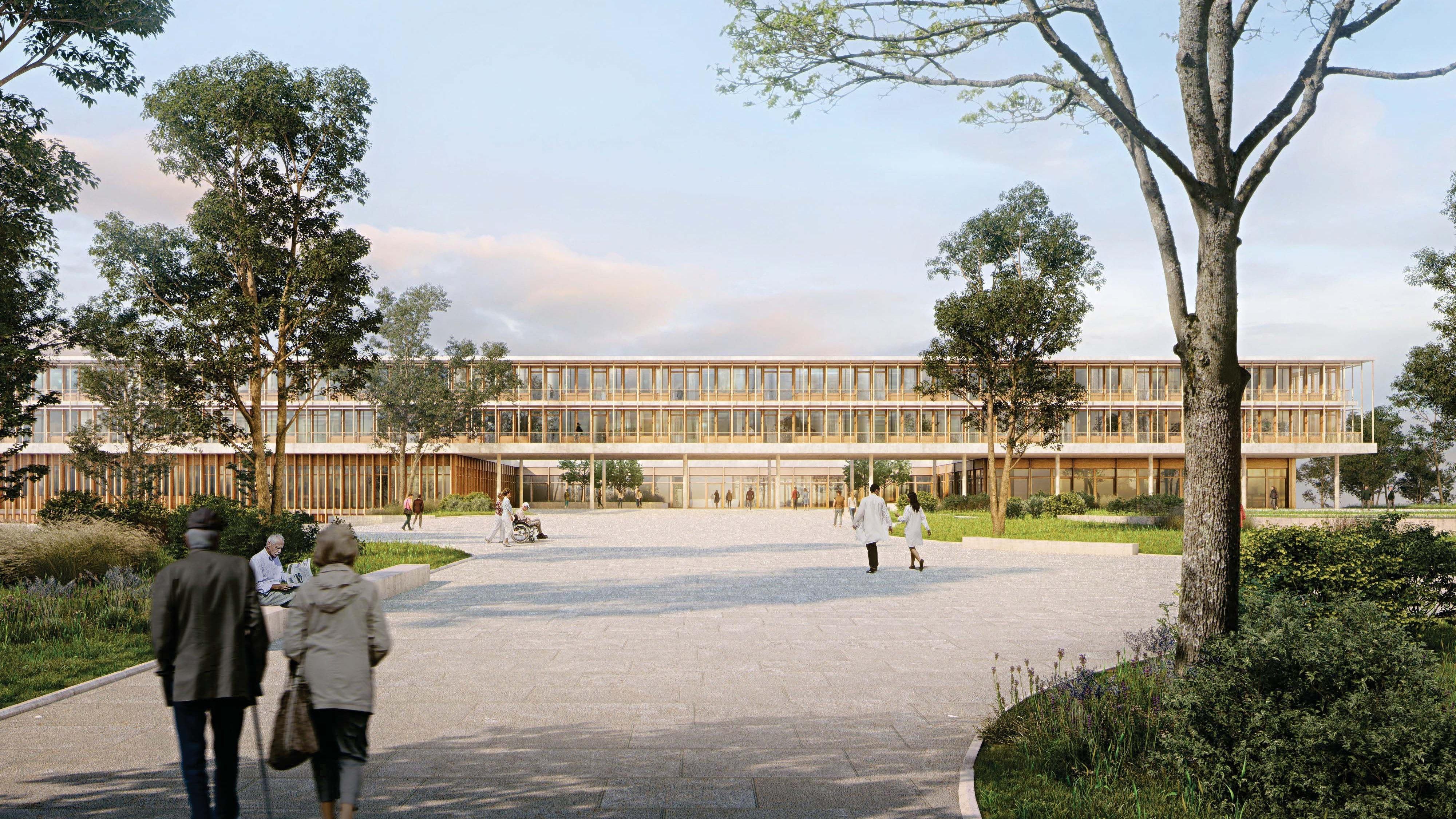 Frontansicht: So soll das Zentralklinikum in Twistringen aussehen, wenn es fertig ist. Animation:Ludes Architekten – Ingenieure GmbH