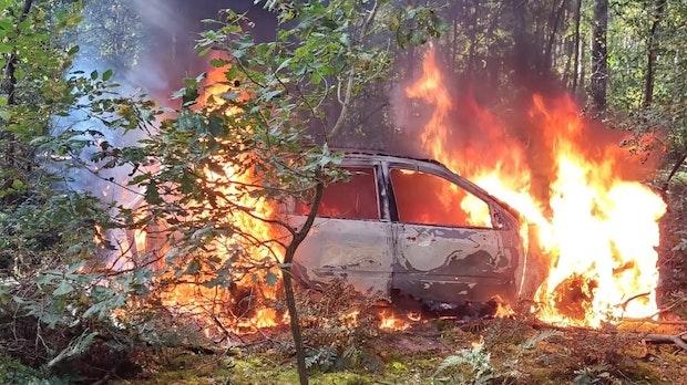 Auto in Waldstück brennt aus