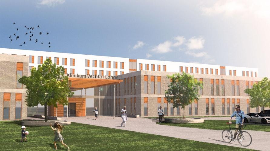 In der Visualisierung steht das Großprojekt schon. Das Zentralklinikum an der Diepholzer Straße in Vechta soll 450 Planbetten umfassen. Skizze: Architekten t+p