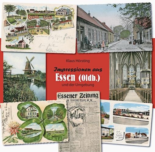 """Titelseite: Sieben Motive sind zu einer Kollage zusammengefasst worden. Neben einem Straßenzug der Essener Altstadt"""" (oben re.) auch die Flerlagsche Mühle an der Mühlenhase"""" (Mitte, links)."""