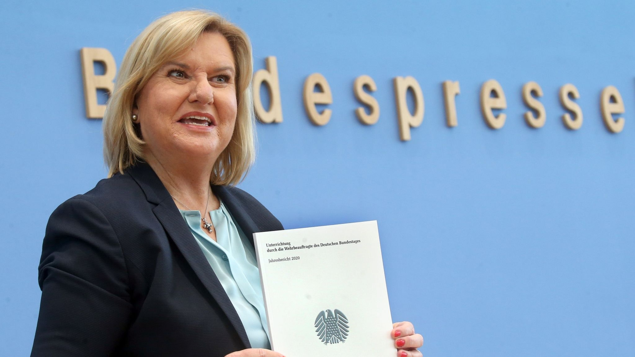 Eva Högl, Wehrbeauftragte des Bundestags, hat auf der Bundespressekonferenz den ersten Jahresbericht zur Lage der Bundeswehr vorgestellt. Foto: dpa/Kumm