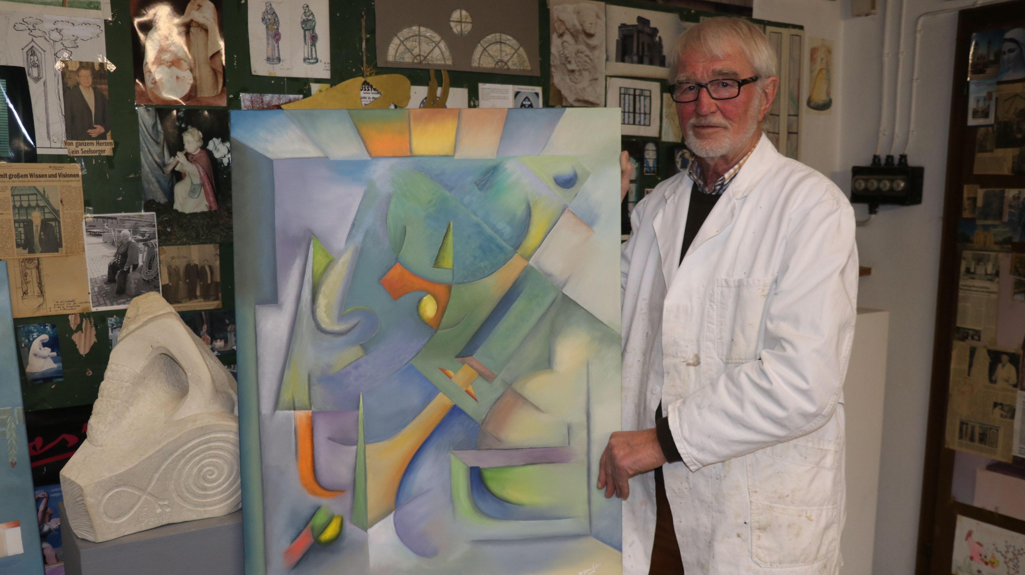 Ein neues Betätigungsfeld: Ferdinand Starmann hat sich in seinem künstlerischen Schaffen auf die Malerei verlegt. Dabei ist er sowohl gegenständlich als auch abstrakt unterwegs. Foto: Lammert