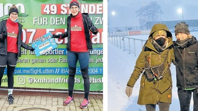 """Für SgH unterwegs: Links Britta Middelbeck und Eva-Maria Krauße mit dem Scheck der """"Micken"""" und der """"Picker Supersonics"""". Rechts Karo und Doro Stania. Foto: TuS Lutten"""