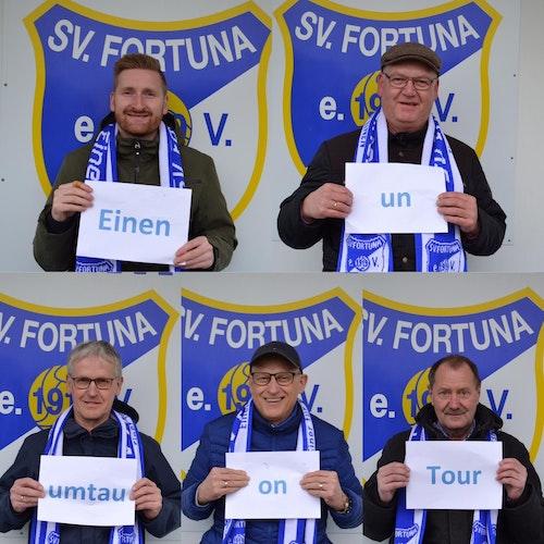 Zufriedene Fortuna-Gesichter mit dem SgH-Motto: Niklas Schlömer, Berthold Wilkens (oben von links), Georg Gelhaus, Heinrich Gelhaus und Ludger Wübbeler (unten von links). Foto: Fortuna Einen