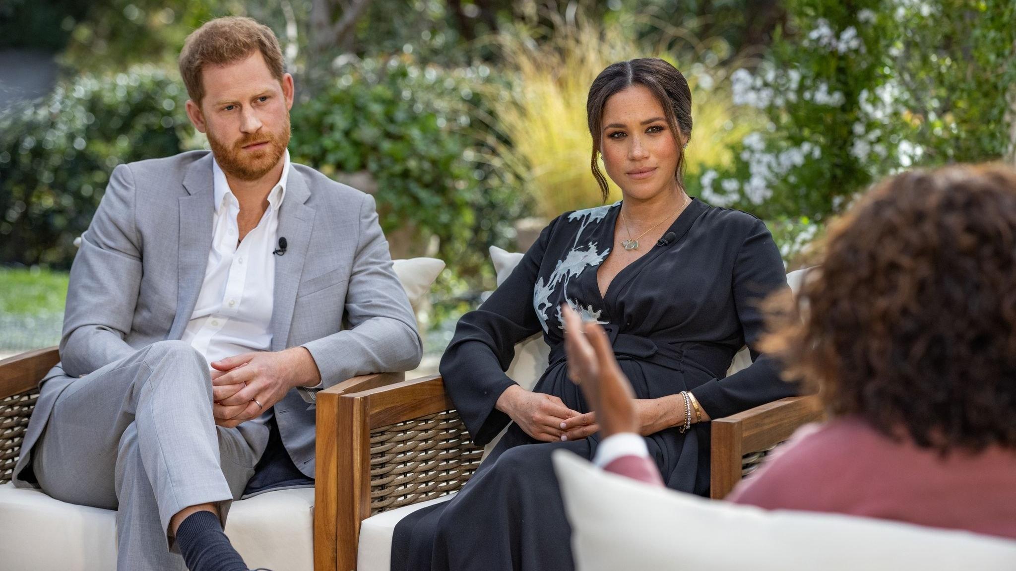 Prinz Harry und Herzogin Meghan sprechen mit Oprah Winfrey über das Leben am britischen Königshaus. Foto: dpa/Pugliese/Harpo Productions/PA Media