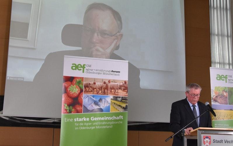 Hoher Gast: Ministerpräsident Stephan Weil war zugeschaltet. Im Vordergrund ist der neue AEF-Chef Sven Guericke zu sehen. Foto: Tzimurtas