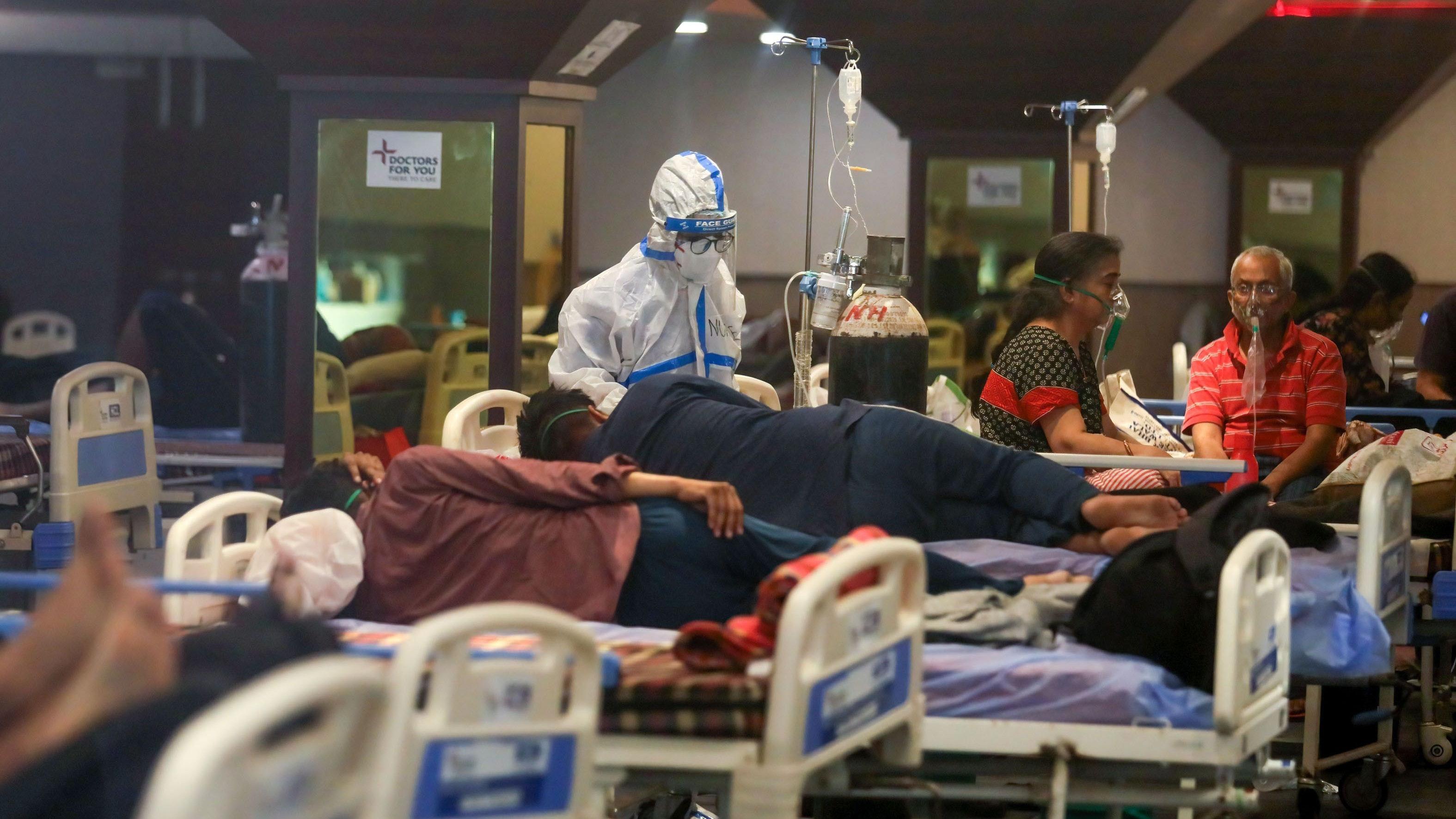 Dramatische Lage: In den indischen Krankenhäusern fehlt es an Sauerstoff und Krankenhausbetten. Foto: dpa/Sharma
