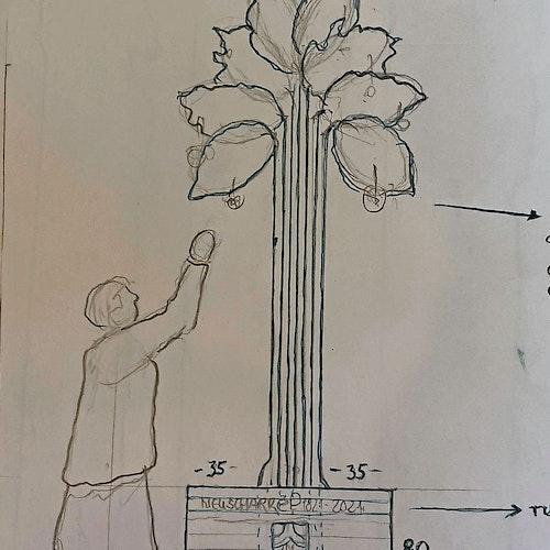 Grober Entwurf: das Denkmal  zum 200-jährigen Bestehen.