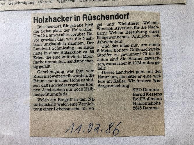 Den ersten Leserbrief heftete Manfred Schlömer im Februar 1986 ab. Foto: C. Meyer