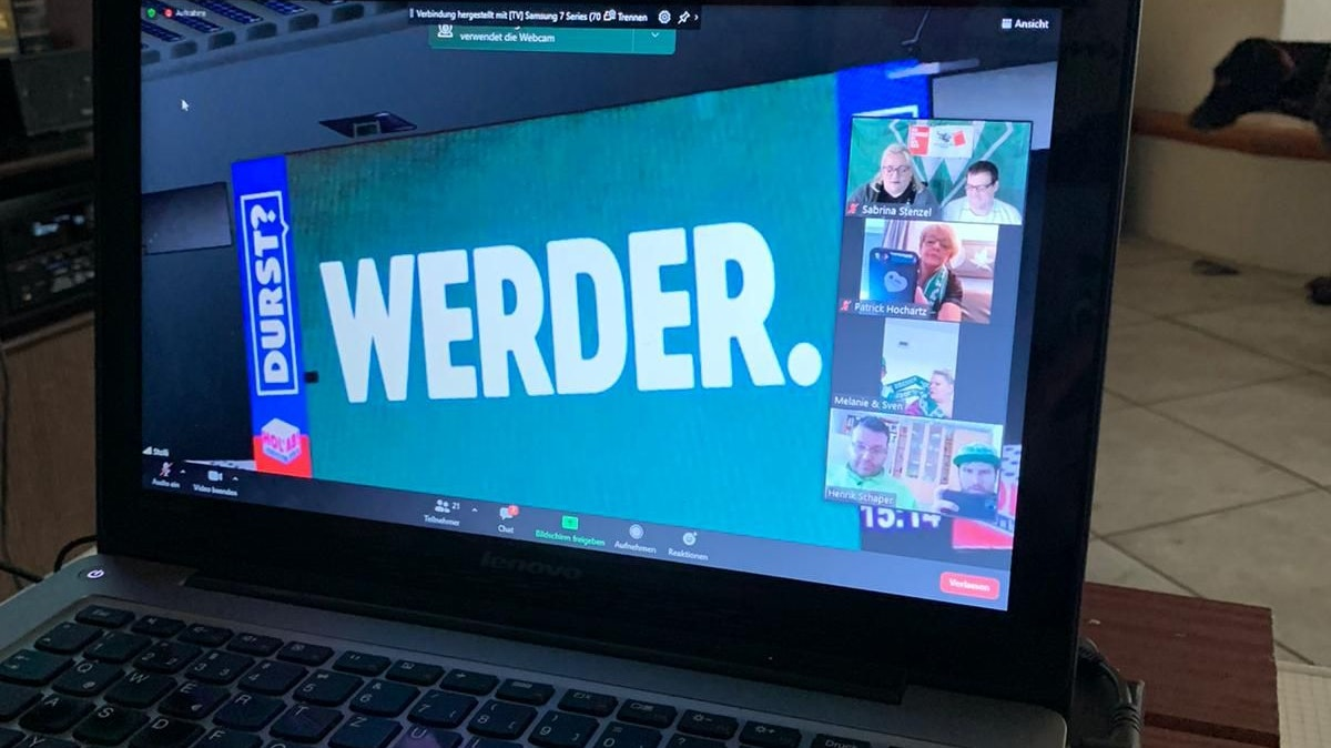 Per Zoom ins Weserstadion: Sabrina Stenzel von den Greenhorns Damme nahm an einer Videokonferenz mit Stadionsprecher Christian Stoll teil. Foto: Stenzel