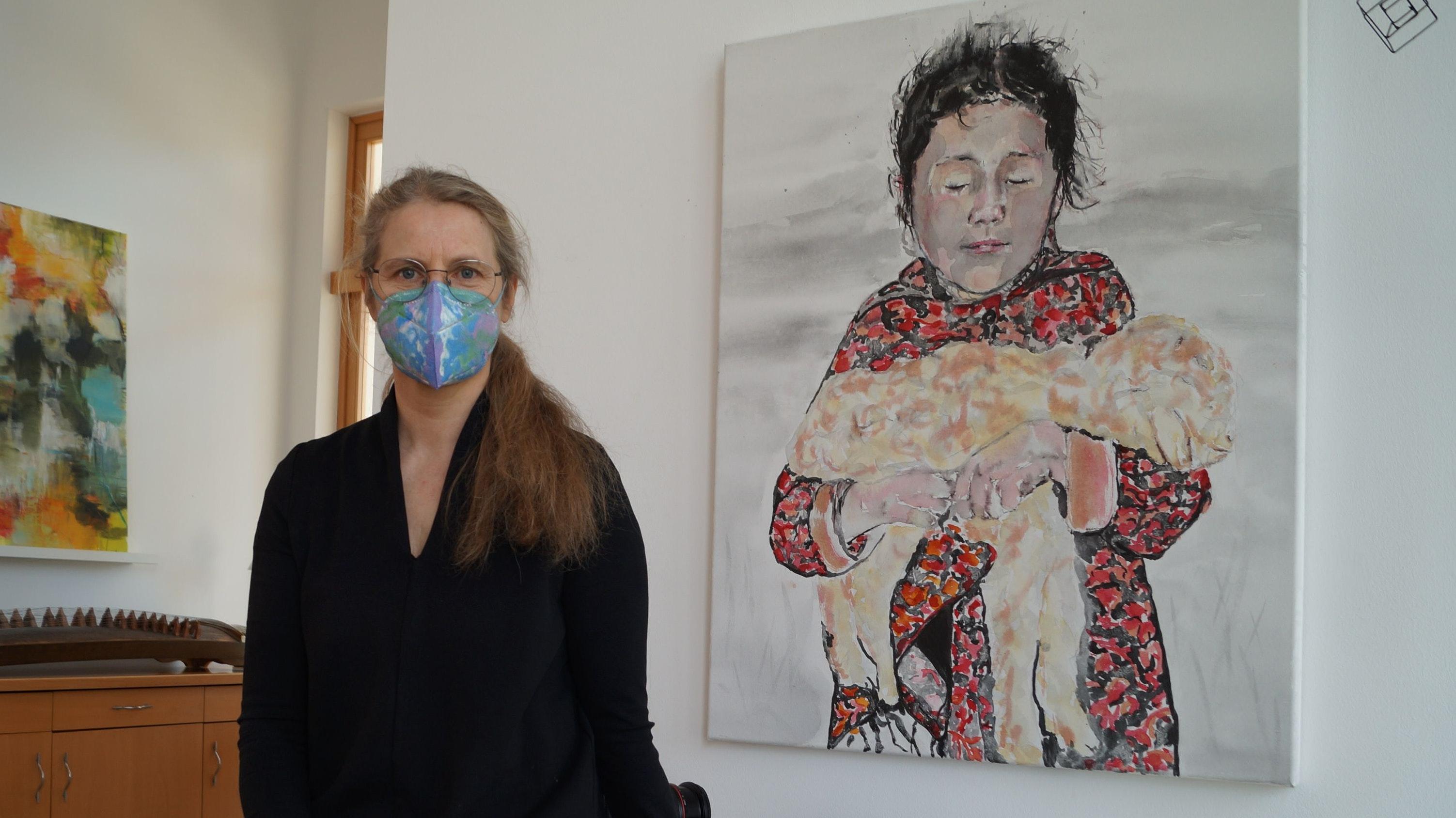 """""""Mädchen aus Kasachstan"""": Das Bild hat Annette Aschern während des ersten Lockdowns gemalt. Foto: C. Meyer"""